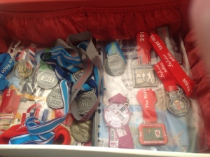 Previous years' running mementos get put in this case. Like the ghosts of runs gone by.