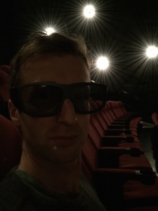 Jones models the IMAX glasses on his home planet as four suns set behind him