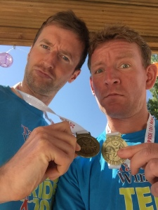 Obligatory post-race selfie with medal and chum