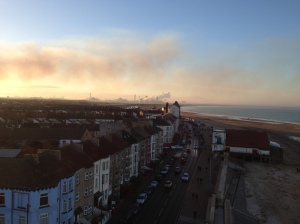 Looking over Redcar to the steelworks