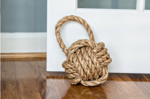 Knot door stop. Made from 100% monkey fist.