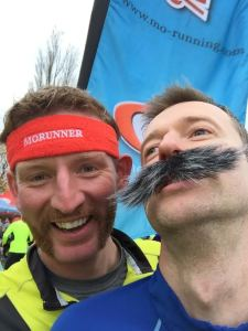Obligatory pre-race selfie. Note how Jones is at this point bamboozled as to the workings of his self-adhesive moustache, and opts to balance it on his upper lip. Actually, he looks like a corpse I'm desperately propping up for the sake of the photo.